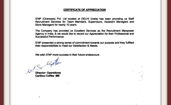 Appreciation Letters  Testimonials  Snp Overseas Global Manpower